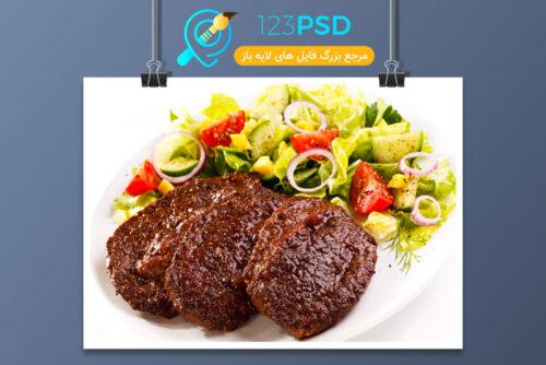 تصوير خوراك گوشت و سبزيجات